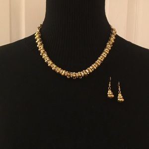 Jewelry - Gold Tone & Crystal Necklace Set